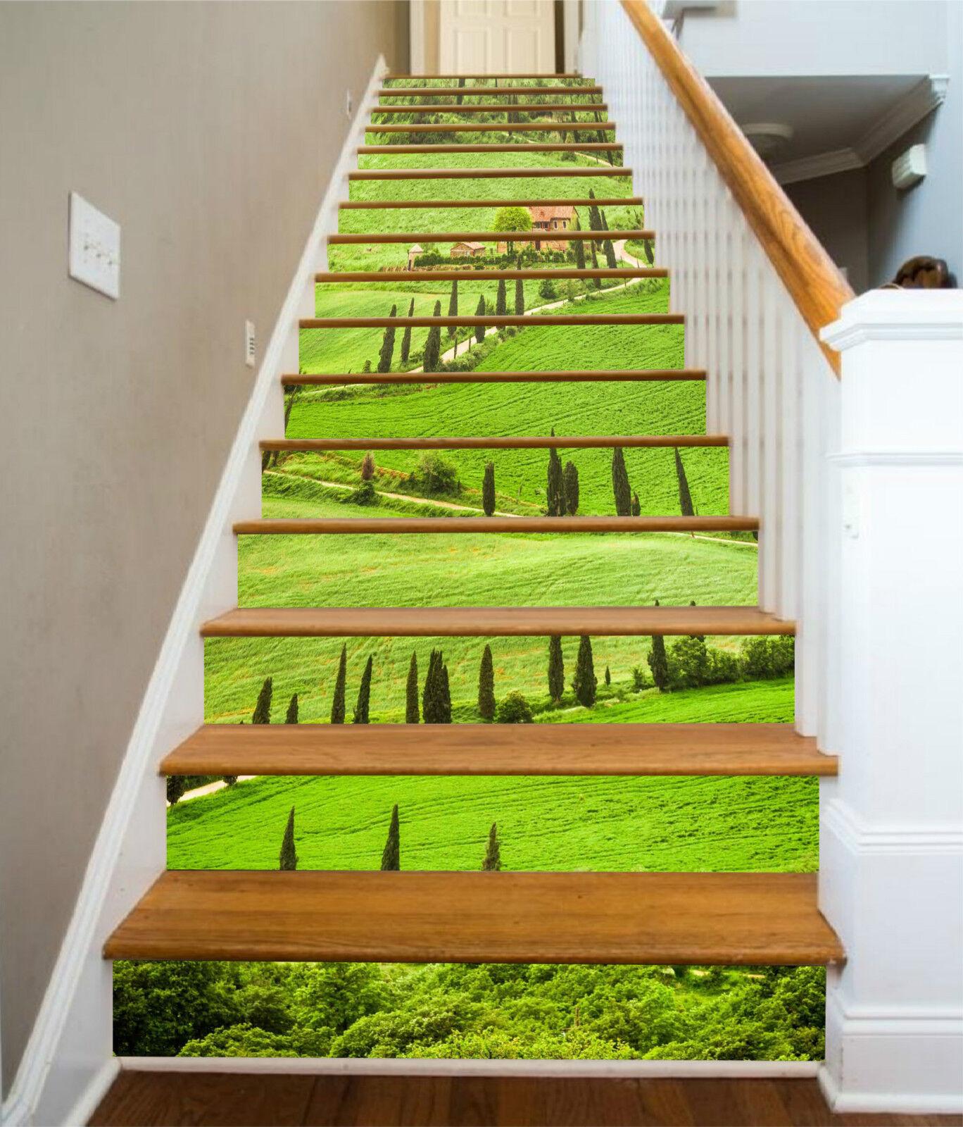 3D Hügelige Pfad 08 Stair Risers Dekoration Fototapete Vinyl Aufkleber Tapete DE