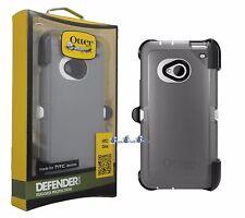 OtterBox Defender Case For HTC One M7 Gray White Cover & Holster Belt Clip OEM