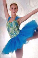 NWT Short Ballet Costume Attached Tutu Soutache Rosette Ribbon Bodice 3 colors