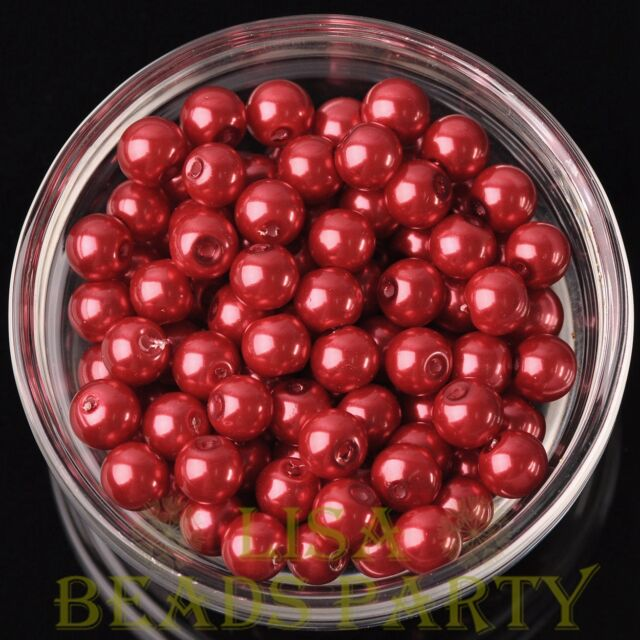 New 30pcs 8mm Round Glass Pearl Loose Spacer Beads Jewelry Making Red