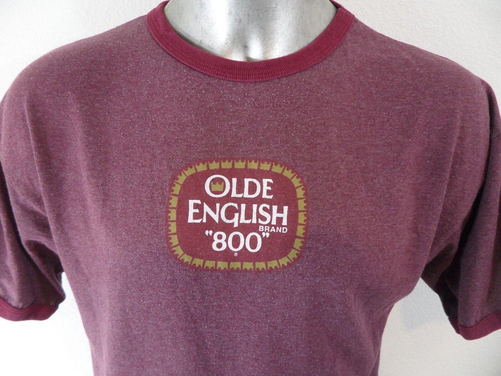 Olde English 800 Brand Malt Liquor Beer Vintage 1980s XL Ringer T Shirt Blend