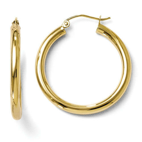 Leslies 10k Yellow gold Polished 3mm x 30mm Hinged Hoop Earrings