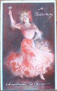 1905-Litho-Christmas-Postcard-Dancing-Woman-w-Champagne