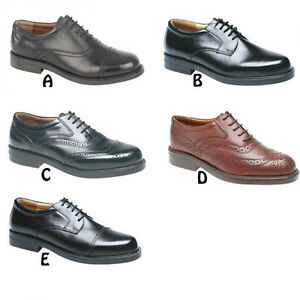 56d2a48bc9e Mens Wide Fitting Shoes Black   Brown Leather Gibson Oxford Brogues ...