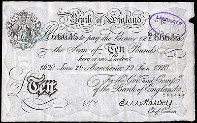 B209bf HARVEY 1920 WHITE MANCHESTER £10 NOTE * 63/V 66635 * aVF *