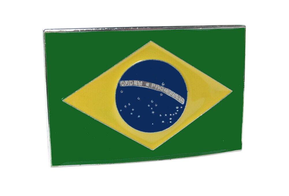 Gürtelschnalle Muster Flagge Brasilien Brasilianisch, Stahl Emailliert