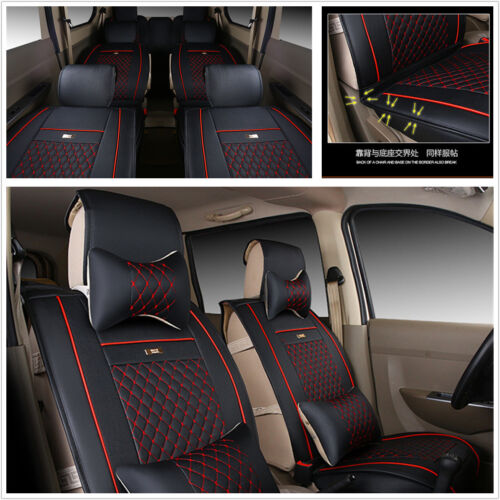 Car Seat Covers Set For 7-Seats MVP Durable PU Leather Protector w// 8 Pillows