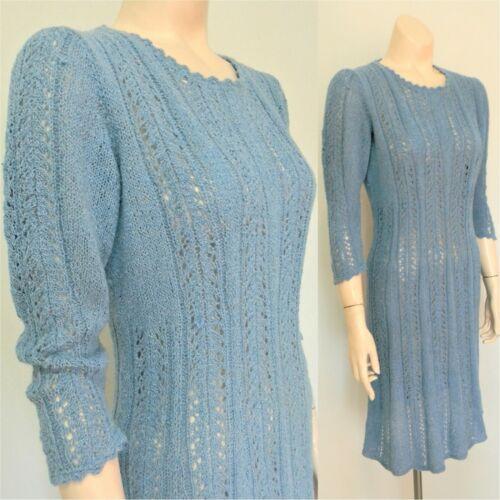 True vintage 1950s hand knit sweater dress blue wi