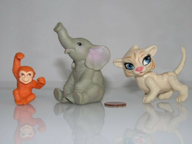 TINY TIGER, MONKEY, ELEPHANT ANIMALS FOR/FITS DOLLHOUSE MATTEL BARBIE/KELLY DOLL