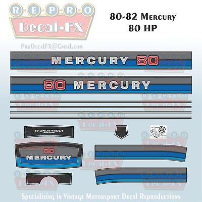 1980-82 Mercury 80 HP Outboard Reproduction 13 Piece Marine Vinyl Decals
