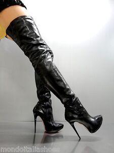 Leather Luxury Overknee Italy Black Stiefel Boots Stivali Platform 41 Nero Mori g1ZqS0wn