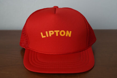 Vintage Lipton Snap Back Mesh Trucker Hat Cap Red