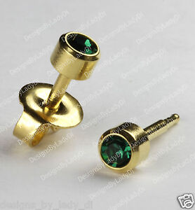 Gold-Ear-Piercing-Earrings-Studs-4mm-With-Green-May-Gem-Hypoallergenic