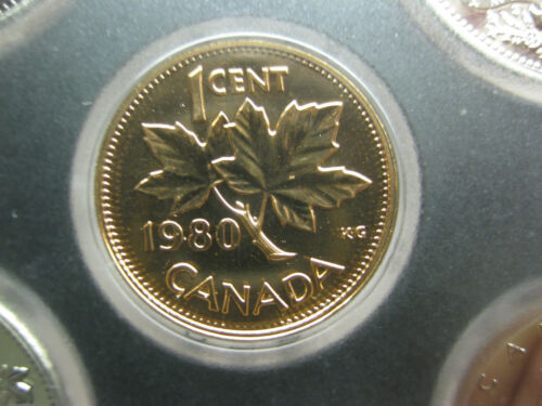 1 cent coin 1980 UNC Prooflike Canadian Penny One Cent