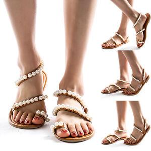 US-Women-Boho-Pearl-Toe-Ring-Sandals-Flat-Flip-Flops-Summer-Beach-Slippers-Shoes