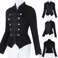 Womens Black Steampunk Emo MCR Punk Gothic Stil Military Coat Jacket Parade Tops