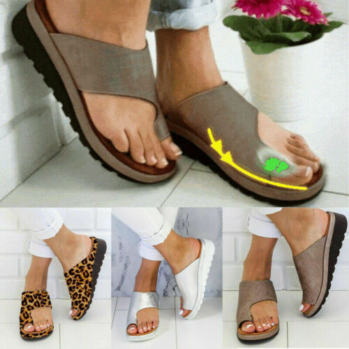 Women Comfy Platform Sandal Shoes Bunion Corrector PU Leather Summer Newest