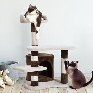 Árbol para gatos Juguete Rascador con Caseta Plataformas Centro de Juego 69cm