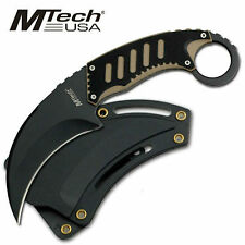 "MTECH USA 7 1/2"" FIXED BLADE KARAMBIT KNIFE BLACK & TAN G-10 w/ MOLDED SHEATH"