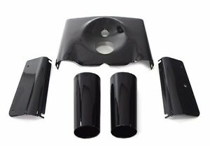 Gloss Black Front Fork Tin Slider Side Covers Kit Heritage Fatboy Harley Softail