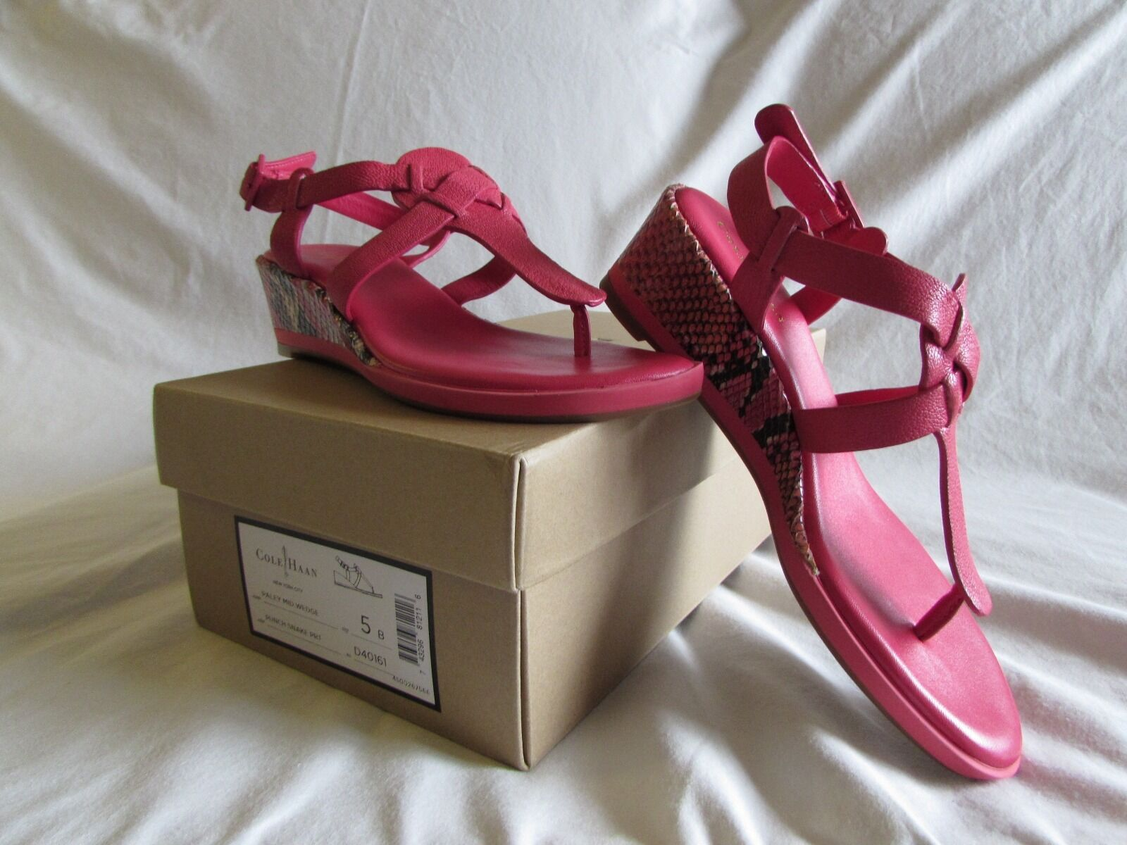 Cole Haan Women's Paley Mid Wedge Sandal,Fuchsia/ Punch Snake Print, size 5