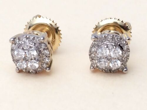 5bb82baf0 10 of 11 10K Yellow Gold Diamond Flower Studs Concave Kite Pave Mens Ladies  Earrings