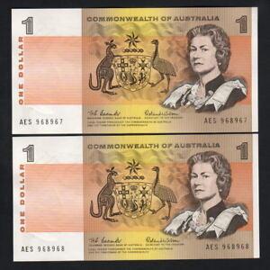 Australia-R-71-1966-1-Dollar-Coombs-Wilson-CONSECUTIVE-Pair-UNC