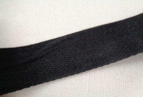 Noir Uni En Coton Mélange De Lin Tissu Ruban//blanc à coudre étiquette en 3 cm par M