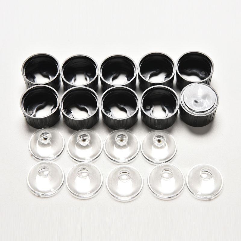 10X 120 ° LED-Linse für 1W 3W High Power LED mit Schraube 20mm Schwarz Halte ZQ