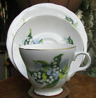 STUNNING VINTAGE CROWN TRENT BONE  CHINA TRIO SNOWTROPS FORGET-ME-NOTS