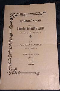 Détails Sur Emile Loubet 1916 Mort De Son Fils Poeme Du Poète Jules Cesar Blancard