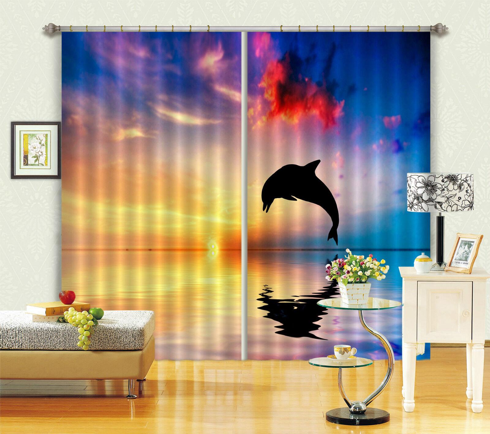 3d delfín mar 509 bloqueo foto cortina cortina de impresión sustancia cortinas de ventana