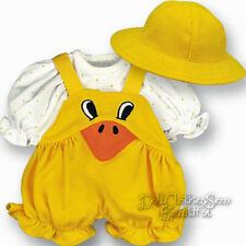3 Pc Quack Quack Rubber Duck Outfit For Bitty Baby + Twins Doll Clothes