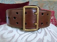 Alexander McQueen brown leather belt w/ golden buckle Size XS 65 / 26
