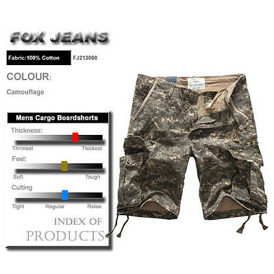 NEW MENS FOXJEANS CAUSAL CAMO MILITARY ARMY MEN'S CARGO WORK SHORTS SIZE 42