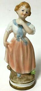 Vintage Ardco Bisque Porcelain Colonial Girl In Dress Hand-Painted Figurine