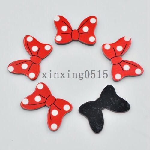 10pcs hand painting Dot red bow Flatback acrylic sheets//Children scrapbook craft