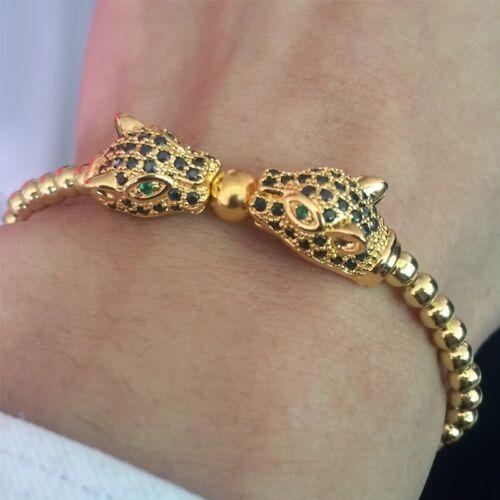 2019 Fashion Men/'s 18kt Or Plaqué Zircon Panther Leopard Head Macrame Bracelet