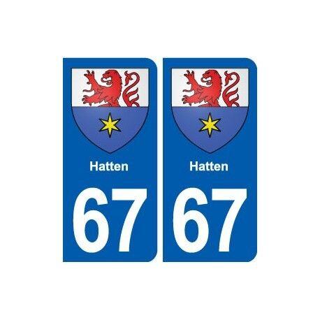 67 Hatten blason autocollant plaque stickers ville droits