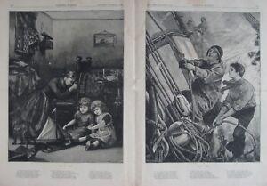 Original 1881 Nautical Engravings THE SAILOR'S RETURN Poem W.H. Overton Artwork