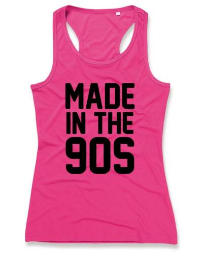 MADE IN THE 90s Ladies Sports Vest 8-16 90/'s Party Fancy Dress Pink T-Shirt Top