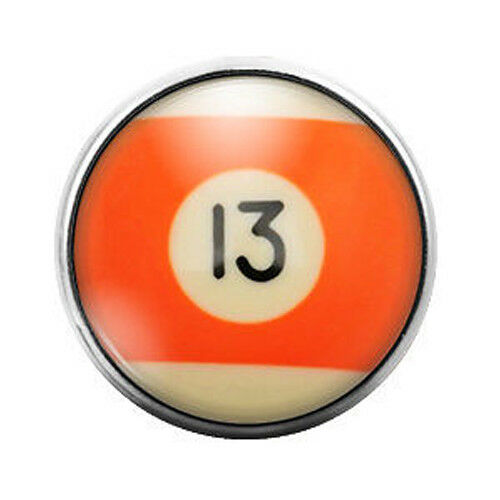Pool Ball 18MM Glass Dome Candy Snap Charm GD0248
