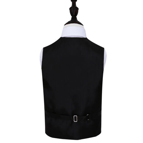 DQT Woven Floral Paisley Black Page Boys Wedding Waistcoat 2-14 Years