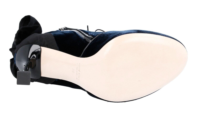 LUXUS MIU MIU PUMPS ANKLE Stiefel SCHUHE 5T758A UK BLAU SAMT + LEDER NEU 39 39,5 UK 5T758A 6 7f14cf