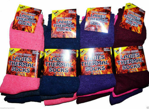 3x Ladies Womens Thermal Darl Multi Color Warm Winter Gift Socks Size UK 4-7