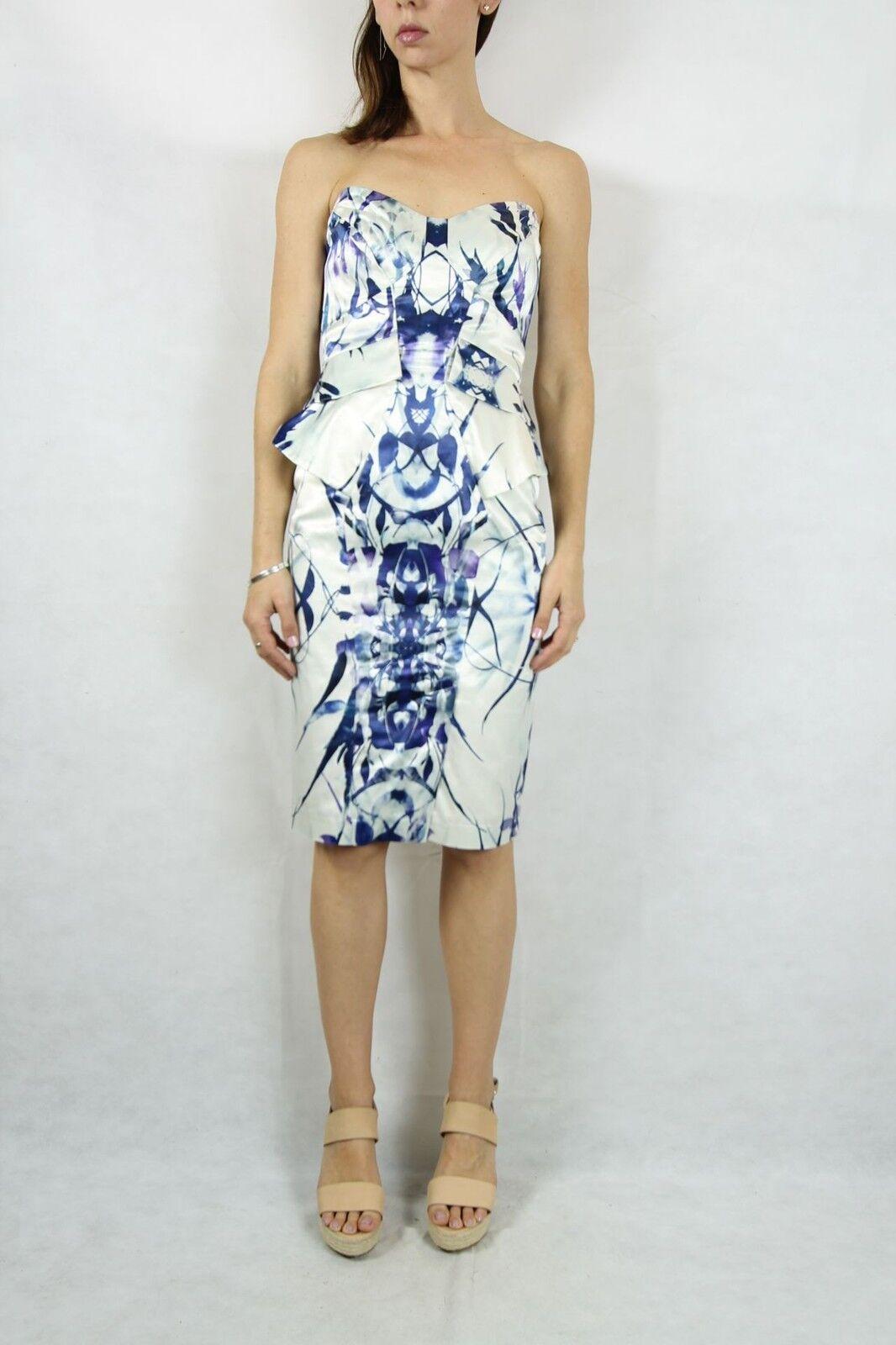 CUE CUE CUE White Digital Print Strapless Peplum Dress Size 10 1a29ea