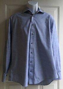 Charles-Tyrwhitt-Weekend-Dark-Blue-Long-Sleeve-Slim-Fit-Shirt-mens-sz-L