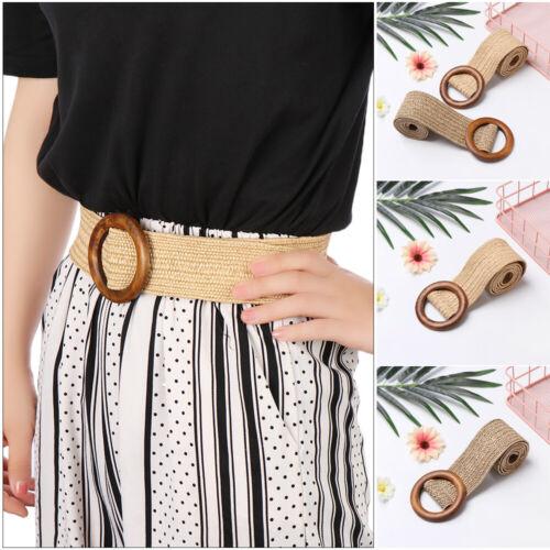Women/'s Round Wooden Buckle Dress Belt  Wide Strap Woven Elastic PP Straw Belts//