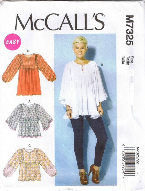 Mccall\'s Sewing Pattern M7325 Sz 4-14 Misses\' Easy Gathered Tops and Tunic