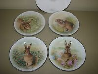 Pottery Barn Meadow Bunny Easter Spring Dessert Salad Plates Set Of 4 In Box